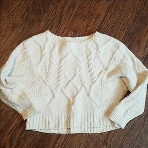 Anthropologie white cropped sweater